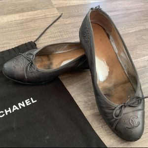 Chanel grey ballerina leather flats 37 1/2